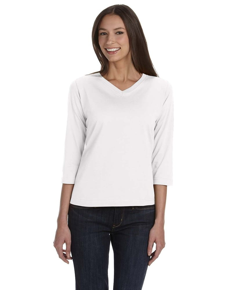 LAT 3577 - Ladies' V-Neck T-Shirt with Three-Quarter Sleeves
