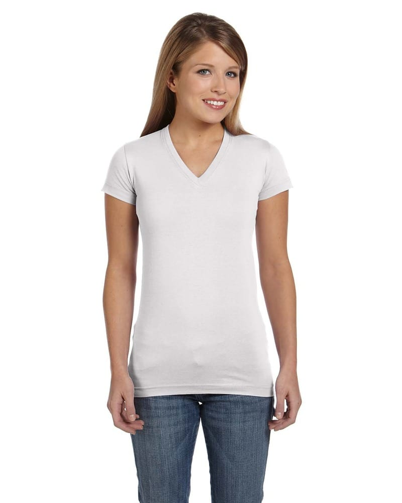 LAT 3607 - Junior Fit Fine Jersey V-Neck Longer Length T-Shirt