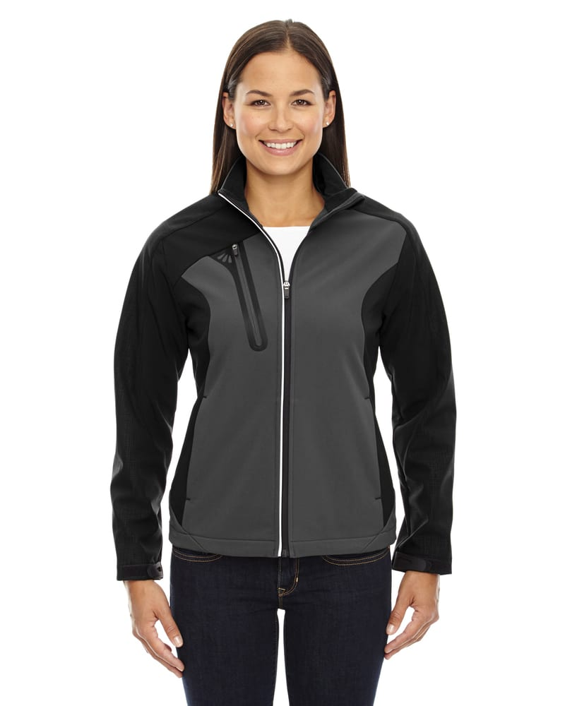 Ash City North End 78176 - Terrain Ladies' Color-Block Soft Shell With Embossed Print