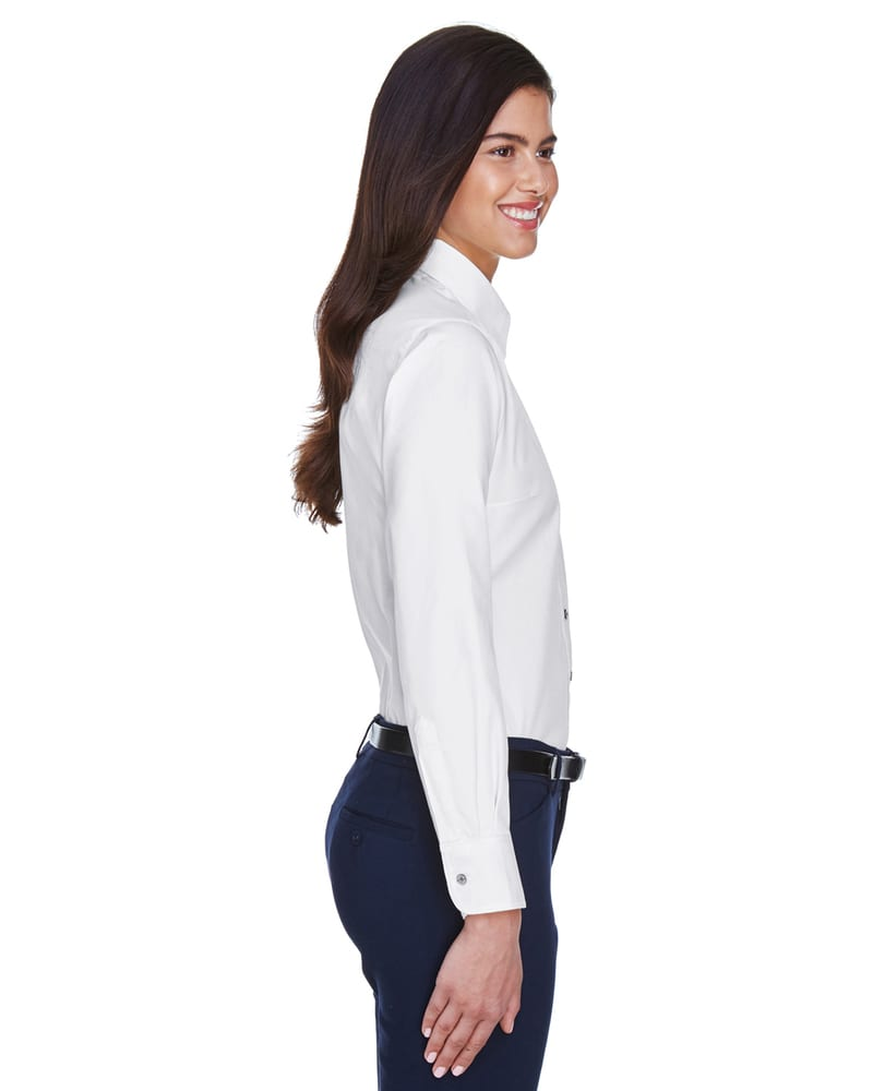 Harriton M500W - Ladies Easy Blend™ Long-Sleeve Twill Shirt with Stain-Release