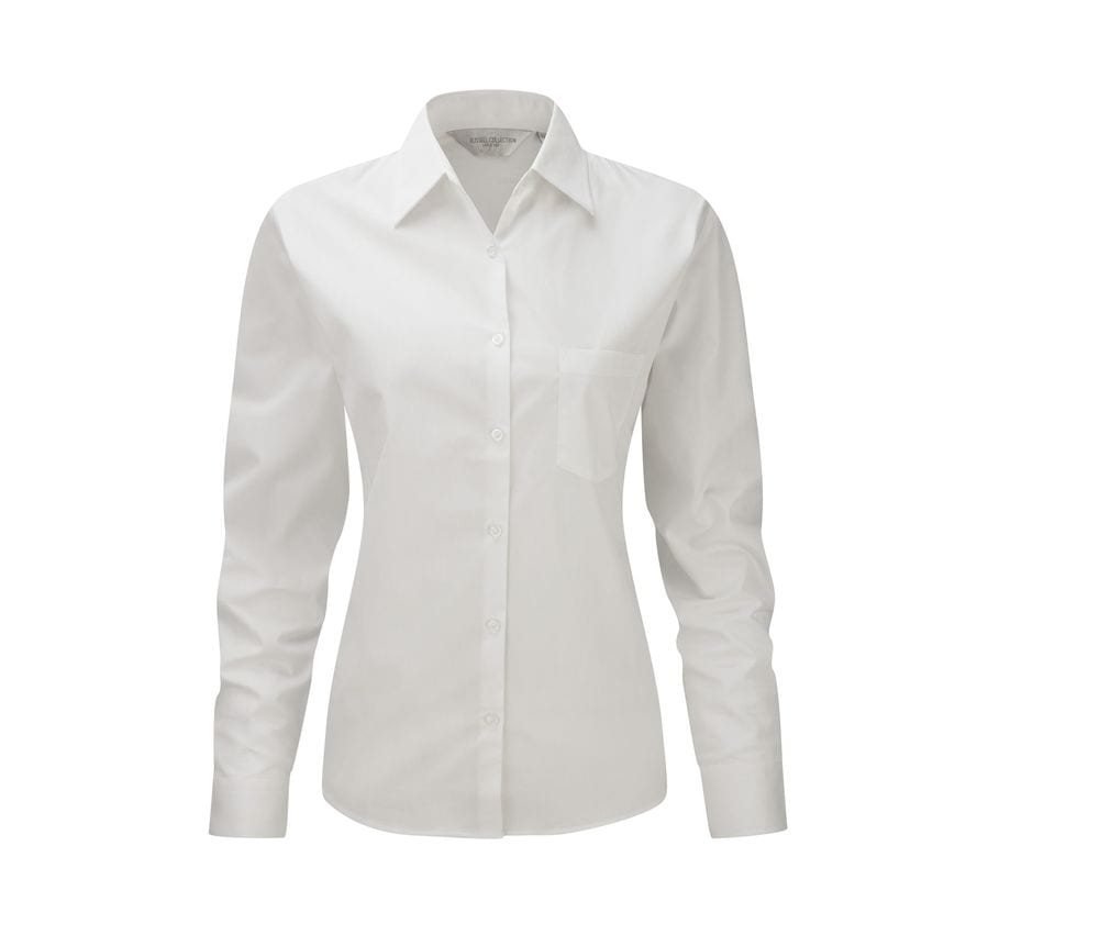 Russell Collection JZ36F - Ladies' Long Sleeve Pure Cotton Easy Care Poplin Shirt