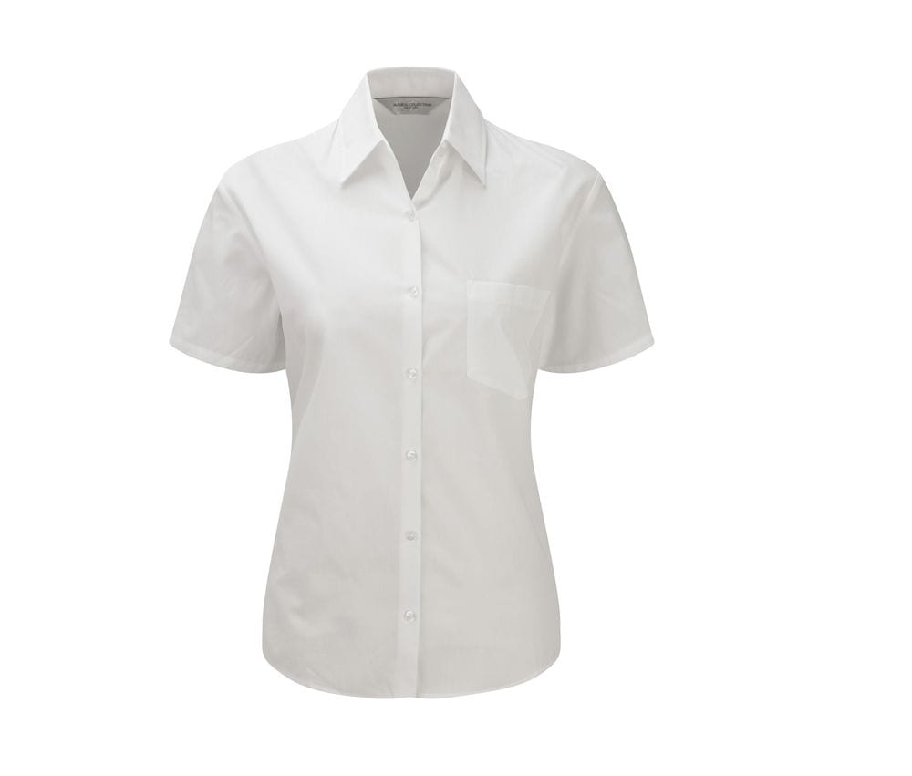 Russell Collection JZ37F - Ladies' Short Sleeve Pure Cotton Easy Care Poplin Shirt