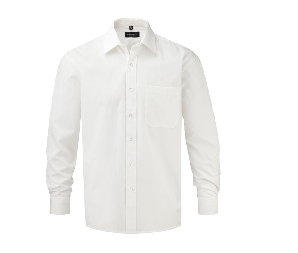 Russell Collection JZ936 - Men's Long Sleeve Pure Cotton Easy Care Poplin Shirt