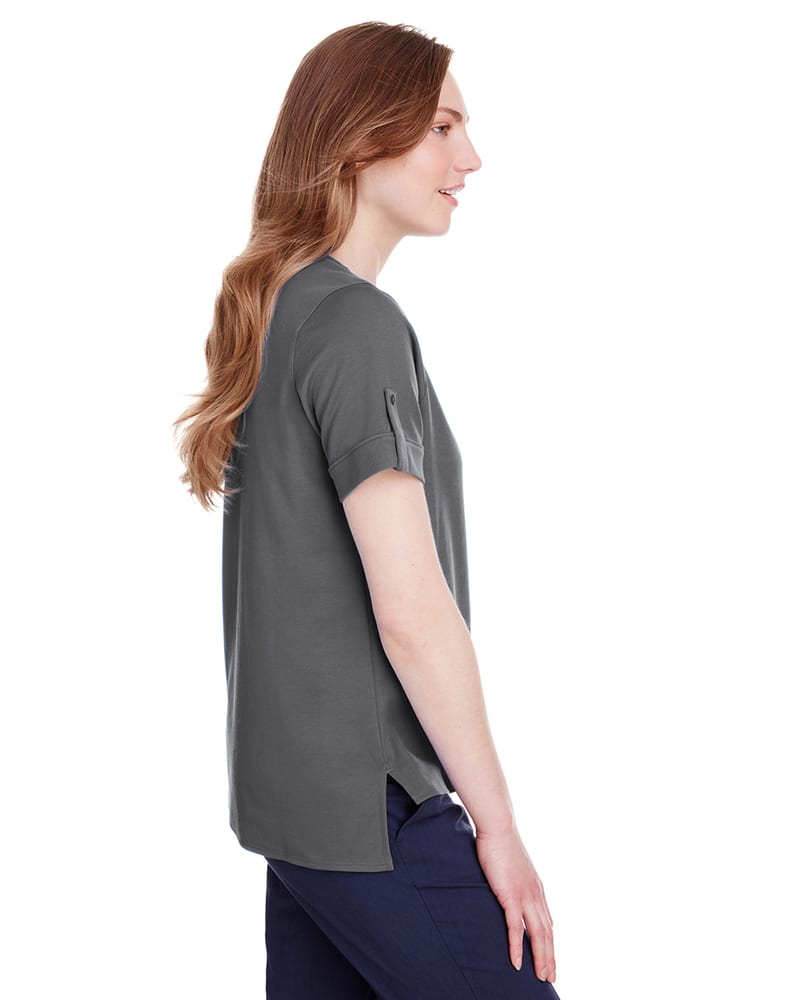 Devon & Jones DG20WB - Ladies CrownLux Performance Plaited Rolled-Sleeve Top
