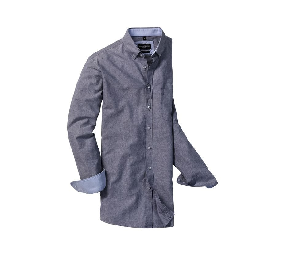 RUSSELL COLLECTION RU920M - MEN'S LONG SLEEVE TAILORED WASHED OXFORD SHIRT