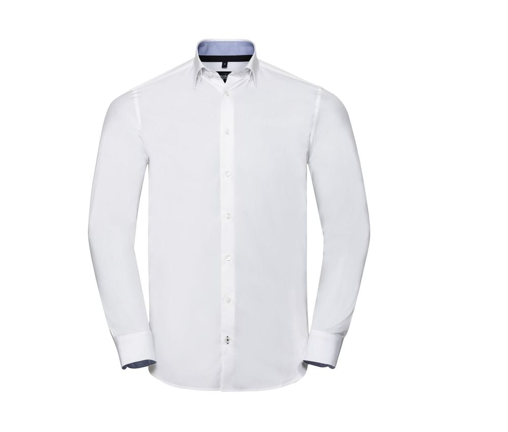RUSSELL COLLECTION RU966M - MEN'S LONG SLEEVE TAILORED CONTRAST ULTIMATE STRETCH SHIRT