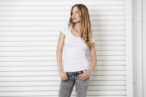 BELLA+CANVAS B8703 - Womens Sheer Mini Rib Scoop Tee