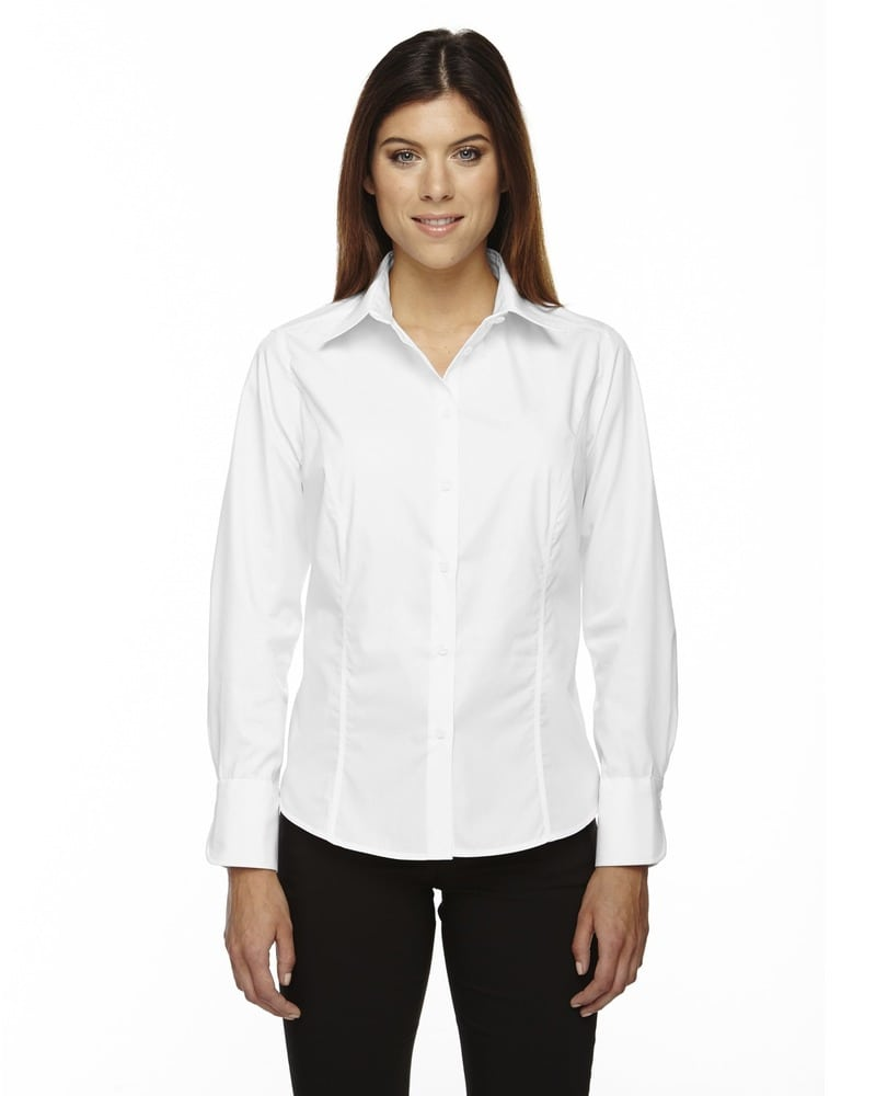 Ash City North End 77037 - Luster Ladies' Wrinkle Resistant Cotton Blend Poplin Taped Shirt
