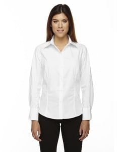 Ash City North End 77037 - Luster Ladies Wrinkle Resistant Cotton Blend Poplin Taped Shirt
