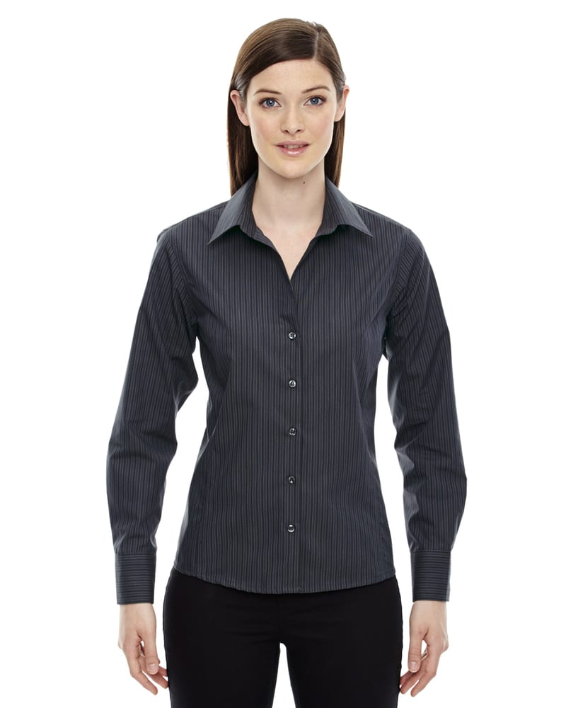 Ash City Vintage 78674 - Boardwalk Ladies' Wrinkle Free-2-Ply 80's Cotton Stripped Taped Shirt