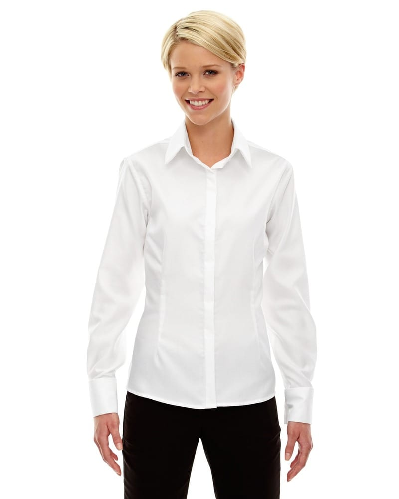 Ash City North End 78689 - Refine Ladies' Blue Wrinkle Free 2-Ply 80's Cotton Royal Oxford Dobby Taped Shirts