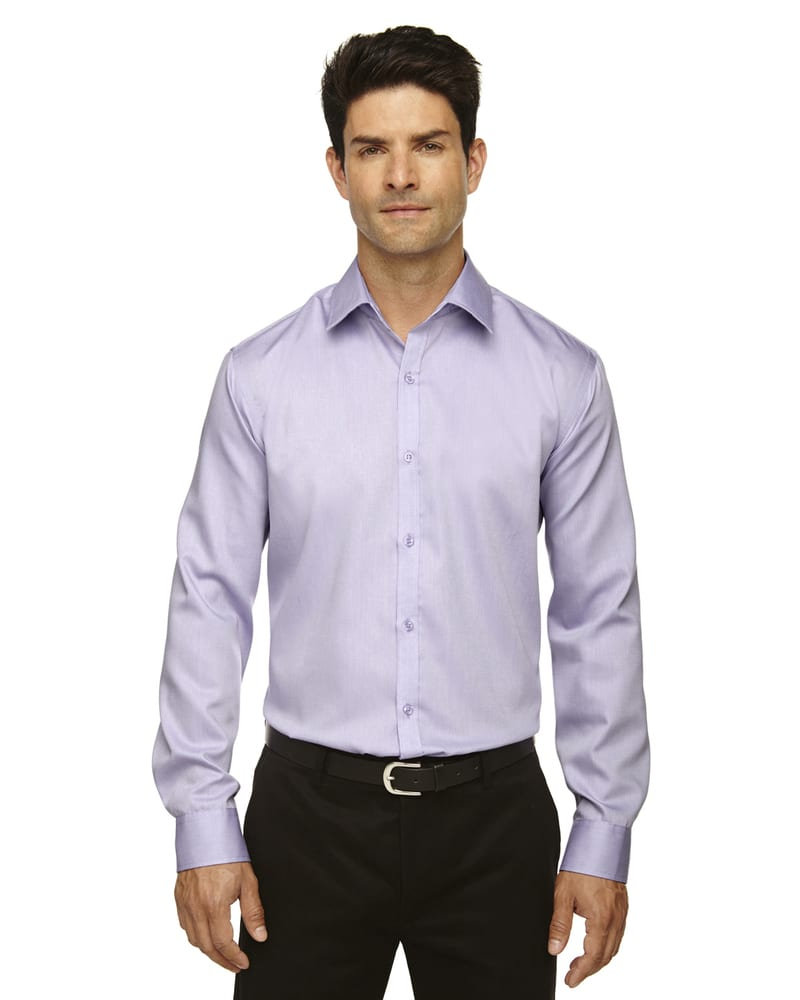 Ash City North End 88673 - Boulevard Men's Wrinkle Free 2-Ply 80'S Cotton Dobby Taped Shirt With Oxford Trim