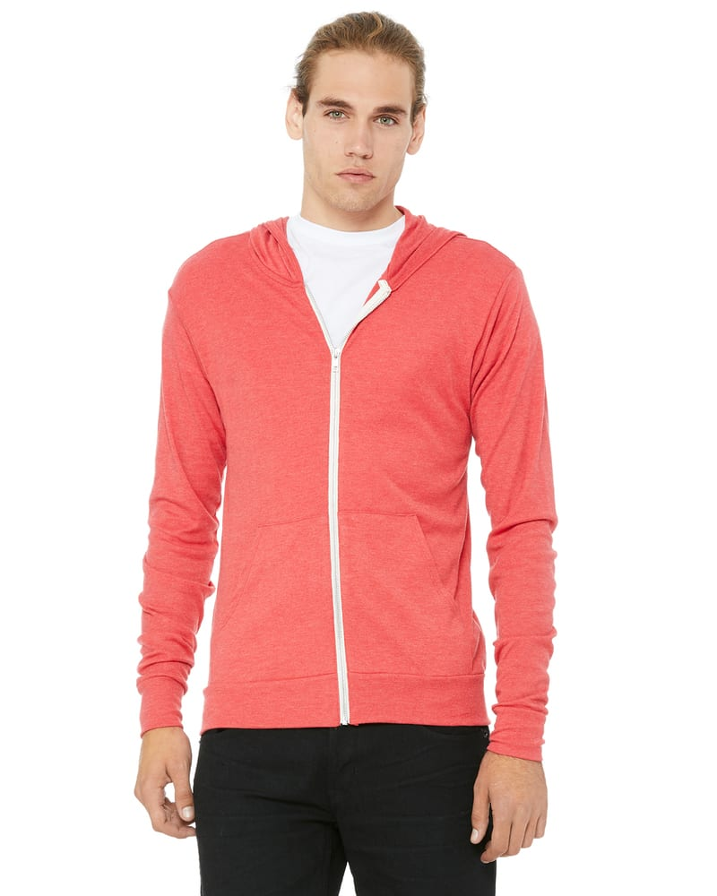 Bella+Canvas 3939 - Unisex Triblend Full-Zip Lightweight Hoodie