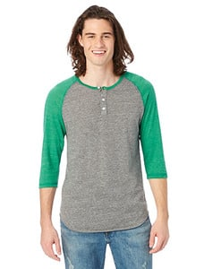 Alternative AA1989 - Mens Eco-Jersey 3/4-Sleeve Raglan Henley