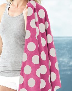 Carmel Towel Company C3060P - Polka Dot Velour Beach Towel