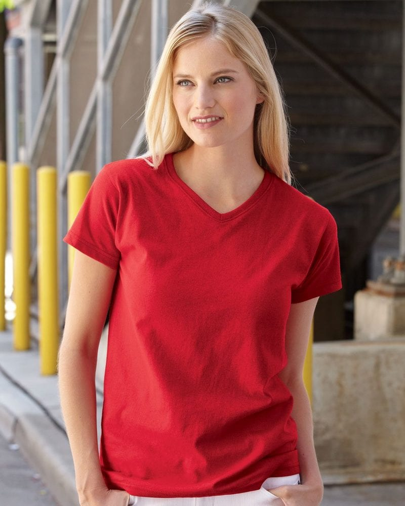 36574be8 Fruit of the Loom L39VR - Ladies' Heavy Cotton HD™ V-Neck T-Shirt