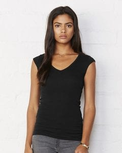 Bella+Canvas 8705 - Ladies Sheer Mini Rib Cap Sleeve V-Neck T-Shirt