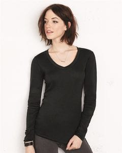 Bella+Canvas 8750 - Ladies Sheer Mini Rib Long Sleeve V-Neck T-Shirt