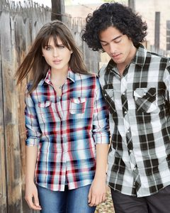 Burnside B5222 - Ladies Long Sleeve Plaid Shirt