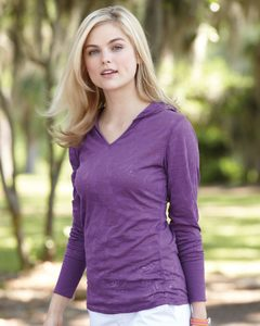 J. America 8254 - Ladies Jersey Burnout Hooded Pullover T-Shirt