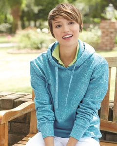 J. America 8860 - Ladies Glitter French Terry Hooded Pullover