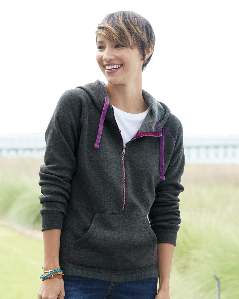 J. America 8876 - Ladies' 1/2 Zip Triblend Hooded Sweatshirt