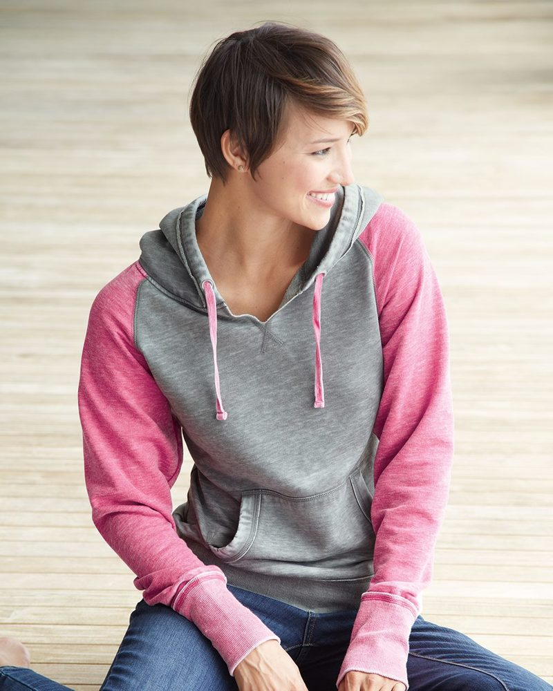 J. America 8926 - Ladies' Zen Fleece Raglan Sleeve Hooded Sweatshirt