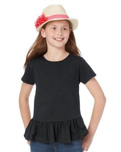 LAT 2627 - Girls Ruffle T-Shirt