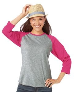 LAT 3530 - Ladies Fine Jersey Three-Quarter Sleeve Baseball T-Shirt