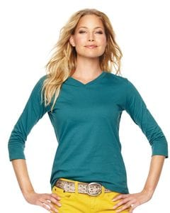 LAT 3577 - Ladies V-Neck T-Shirt with Three-Quarter Sleeves