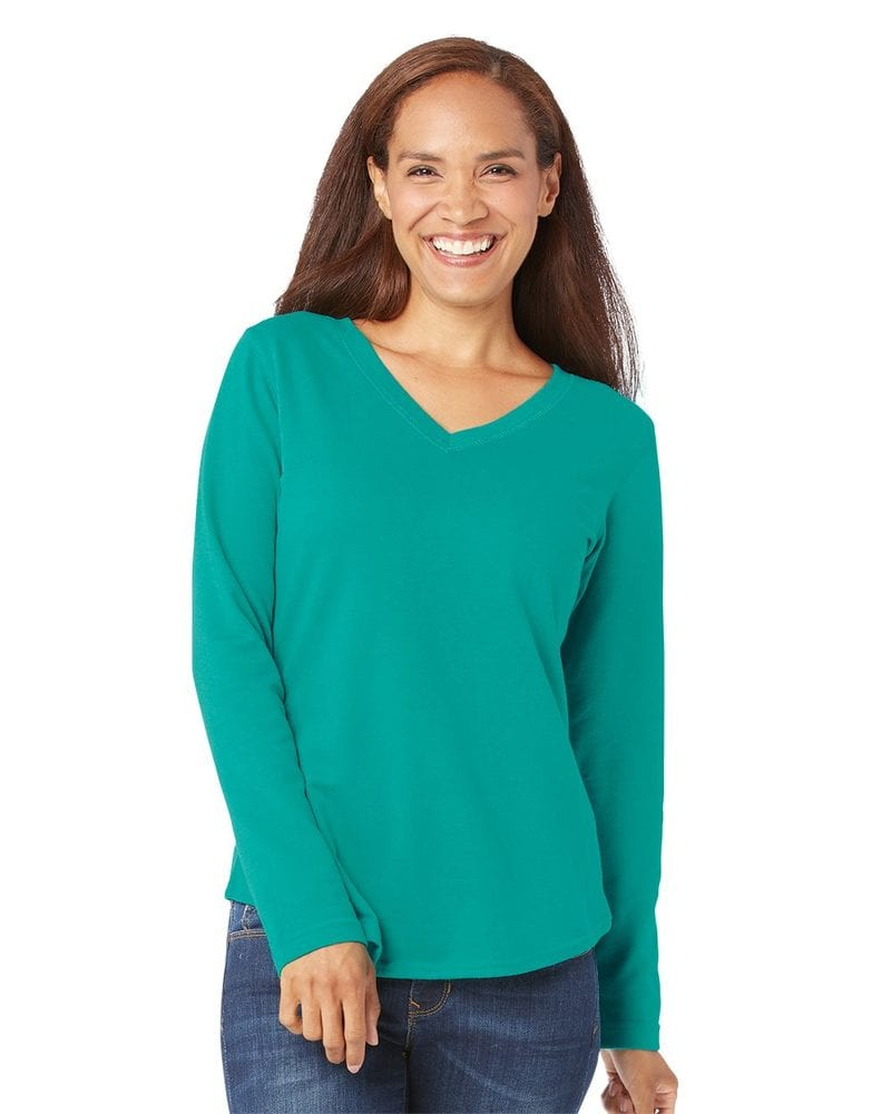 LAT 3761 - Ladies' French Terry V-Neck