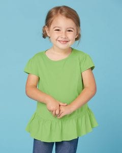 Rabbit Skins 3327 - Toddler Girls Ruffle T-Shirt
