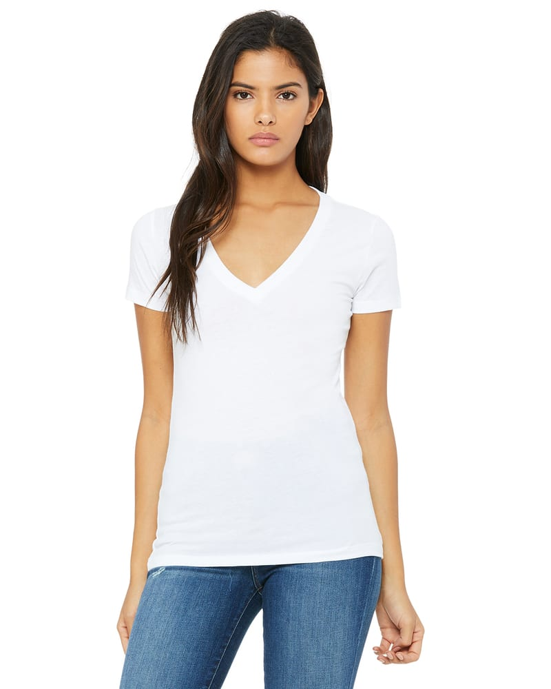 BELLA+CANVAS B6035 - Women's Jersey Short Sleeve Deep V-Neck Tee