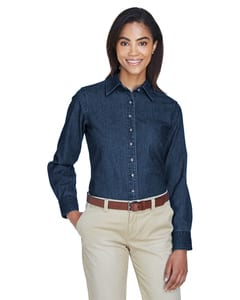 Harriton M550W - Ladies 6.5 oz. Long-Sleeve Denim Shirt