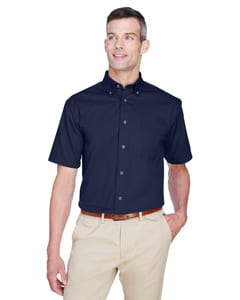 Harriton M500S - Mens Easy Blend™ Short-Sleeve Twill Shirt with Stain-Release
