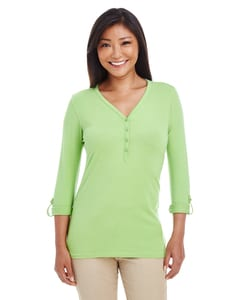 Devon & Jones DP186W - Ladies Perfect Fit  Y-Placket Convertible Sleeve Knit Top