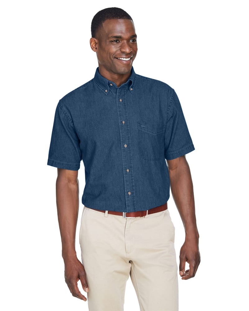 Harriton M550S - Men's 6.5 oz. Short-Sleeve Denim Shirt
