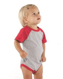 Rabbit Skins 4430 - Fine Jersey Infant Three-Quarter Sleeve Baseball Bodysuit