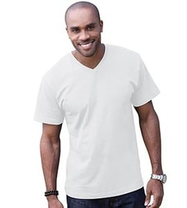 LAT 6907 - Adult Fine Jersey V-Neck T-Shirt