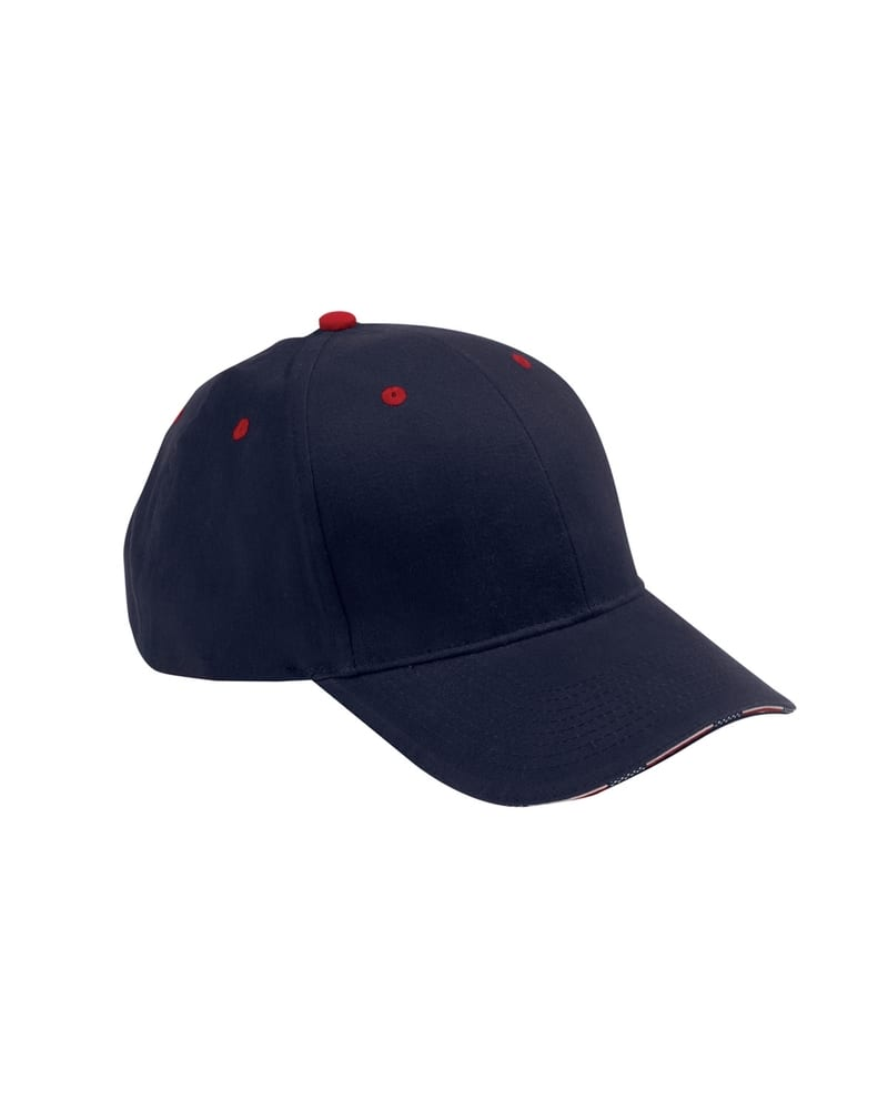 Adams PA102 - 6-Panel Mid-Profile Structured Stars & Stripes Sandwich Visor with USA Flag Label