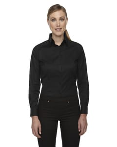 Ash City North End 78646 - Ladies Wrinkle-Free Two-Ply 80s Cotton Taped Stripe Jacquard Shirt