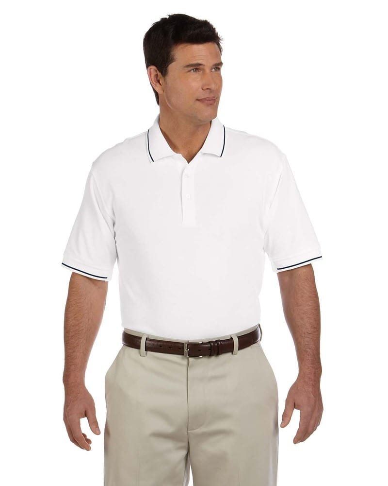 Devon & Jones D113 - Men's Pima Piqué Short-Sleeve Tipped Polo