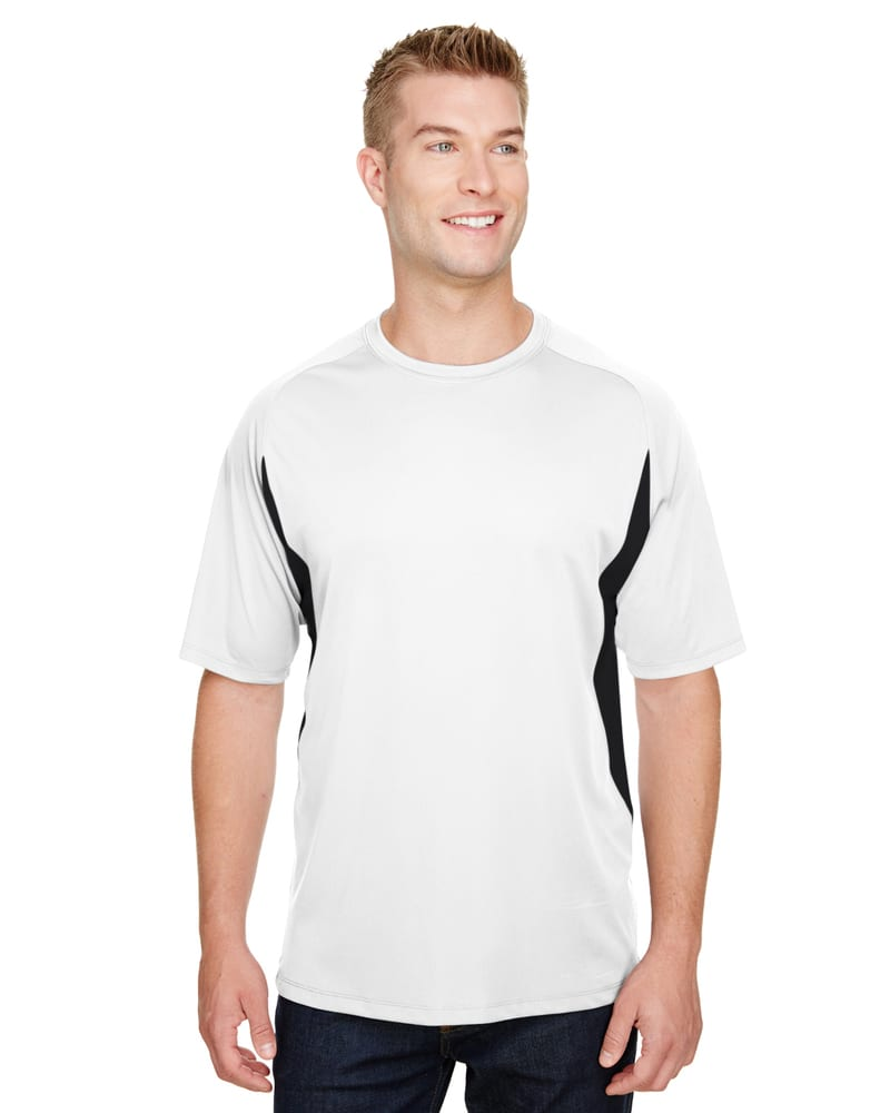 A4 N3181 - Men's Cooling Performance Color Blocked Shorts Sleeve Crew Shirt