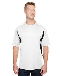 A4 N3181 - Mens Cooling Performance Color Blocked Shorts Sleeve Crew Shirt