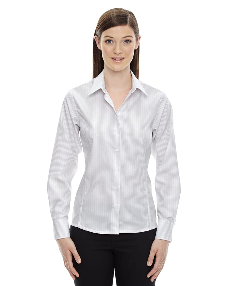 Ash City North End 78674 - Ladies Boardwalk Wrinkle-Free Two-Ply 80's Cotton Striped Tape Shirt