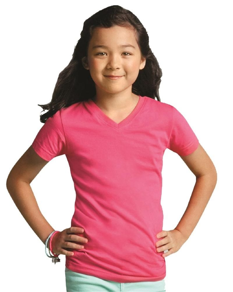 LAT 2607 - Girls' V-Neck Fine Jersey T-Shirt