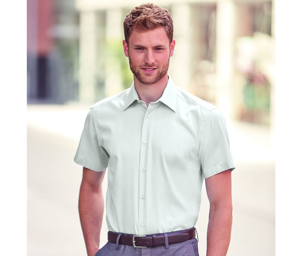Russell Collection JZ959 - Men's Short Sleeve Tailored Ultimate Non Iron Shirt