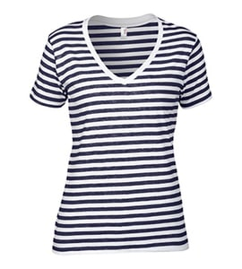 Anvil 8823 - WOMENS LIGHTWEIGHT STRIPED V-NECK TEE