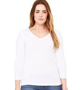 Bella+Canvas B6425 - MISSY 3/4 SLEEVE V-NECK TEE