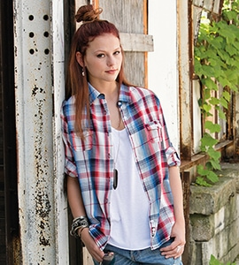 Burnside 5222 - LADIES PLAID PATTERN WOVEN